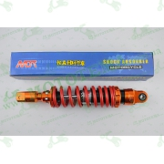 """Амортизатор   GY6, DIO, TACT   270mm, тюнинговый с подкачкой, внутренный балон  """"NDT""""   (оранжево-красный)"""