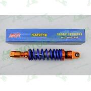 """Амортизатор   GY6, DIO, TACT   270mm, тюнинговый с подкачкой, внутренный балон  """"NDT""""   (оранжево-синий)"""