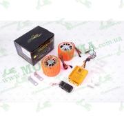 """Аудиосистема CZMP3005-3 (динамики 2,5"""", оранжевые, сигнализация, FM/МР3 плеер, ПДУ)"""