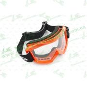 Очки кроссовые   (mod:MJ-1018, оранжевые, прозрачное стекло)