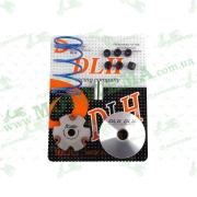 """Вариатор передний (тюнинг)   4T GY6 50  (+палец, ролики 6шт, пружина торкдрайвера)   """"DLH"""""""