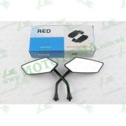 """Зеркала   многоугольные   mod:224, 10mm   (мини, черные)   """"RED"""""""