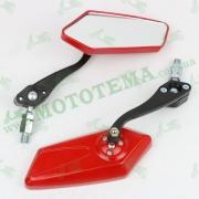 """Зеркала заднего вида (многоугольные), 8-10mm (mod:200, красные) """"RED"""""""