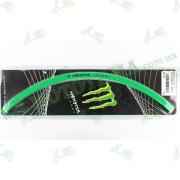 Наклейка на обод колеса R17 светоотражающая, зелёная 'MONSTER ENERGY'