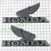 Наклейка шильдик Honda (16x8см, пластик, хром) (#4968)
