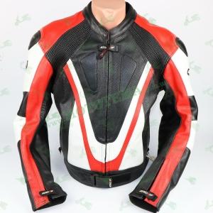 Мотокуртка кожаная черно-бело-красная ATROX NF-8117