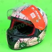 """Мотошлем LS2 FF353 PRAPID POPPIES (бело-розовый) """"S"""""""