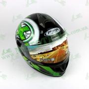 Шлем FXW HF-122 Черно-зеленый глянцевый