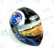 Шлем FXW HF-122 Черно-синий глянцевый
