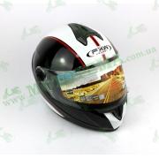 Шлем FXW HF-122 Черный с белыми полосками глянцевый