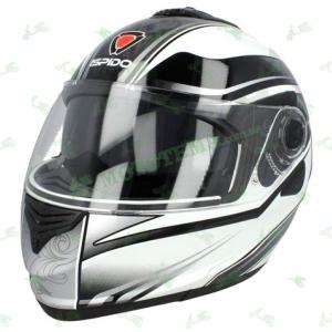 Шлем (модуляр) ISPIDO HYBRID с очками grafic черно/белый