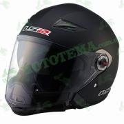 Шлем-полулицевик LS2 OF569 Scape Matt Black с модулем защиты подбородка