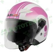 Шлем-полулицевик LS2 OF569 Wind Rose White Pink