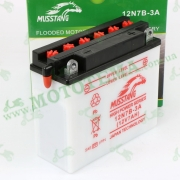 Аккумулятор (АКБ) 12V 7Ah MUSSTANG 12N7B-3A (кислотный заливной)