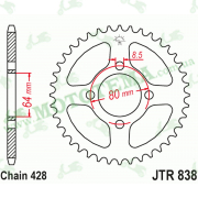 Звезда задняя JTR838 43-428