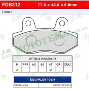 Колодки тормозные FERODO FDB312P Platinum