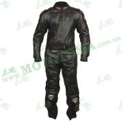 Мотокостюм (куртка, штаны) кожаный черный ATROX NF-8003
