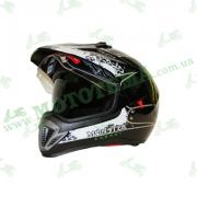 Шлем (мотард) Ataki FF103 Monster черный глянцевый    S