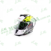 Шлем (интеграл) Ataki FF311 Skull белый/черный/желтый глянцевый    S