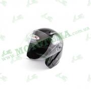 Шлем (открытый со стеклом) Ataki OF512 Solid черный глянцевый    S