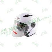 Шлем (открытый со стеклом) Ataki OF512 Solid белый глянцевый    S