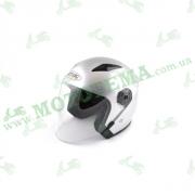 Шлем (открытый со стеклом) Ataki OF512 Solid серебристый глянцевый    S